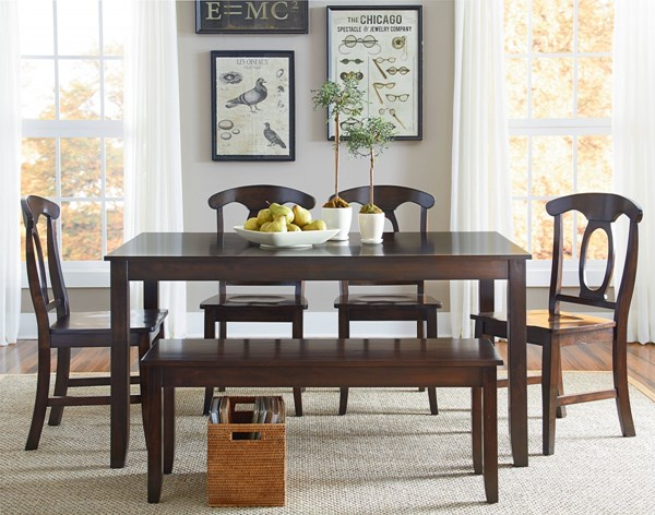 Larkin Country Cherry Brown Wood 6pc Dining Room Set std-1524-DR-S1
