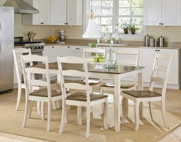 Highland Dusty Brown White Wood Rectangle Table Leg W/6 Chairs Set STD-16522
