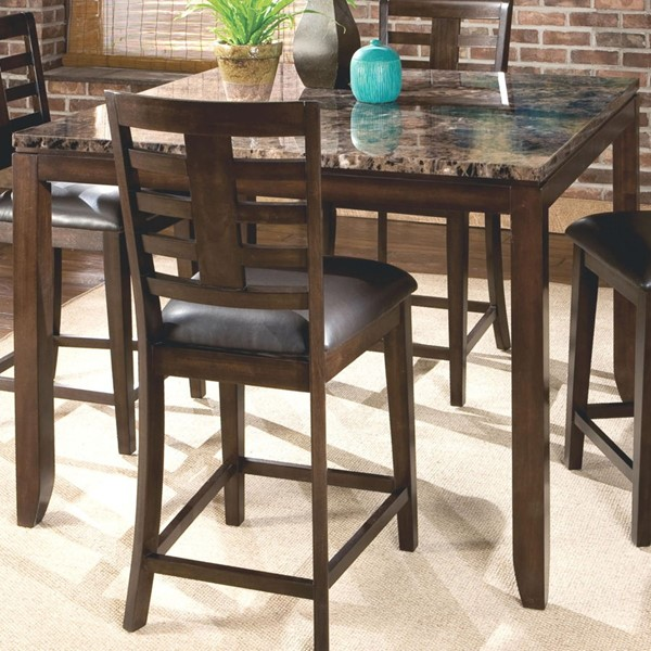 Bella Chocolate Cherry Wood Marbella Top Counter Height Table STD-16856