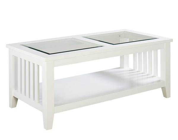 Rio Lite Transitional White Wood Glass Cocktail Table STD-28461