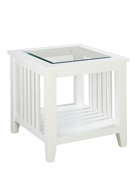 Rio Lite Transitional White Wood Glass End Table STD-28462