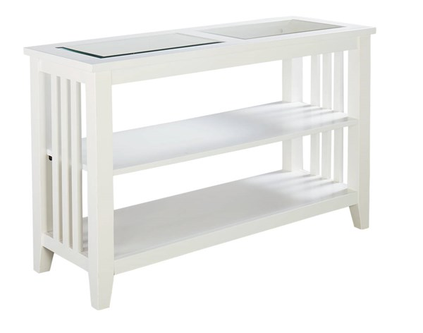 Rio Lite Transitional White Wood Glass Console Table STD-28466