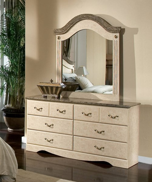 Florence Traditional Wood Glass Dresser & Mirror std-59500-DRMR