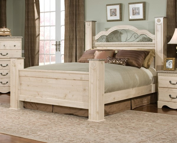 Seville Soft White Wood Full/Queen Poster Bed std-64-FB