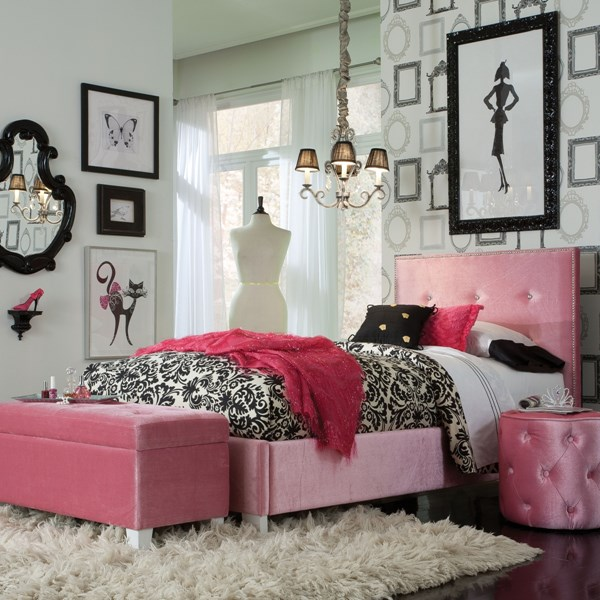Young Parisian Youth Pink Fabric Wood Kids Bedroom Set STD-65150