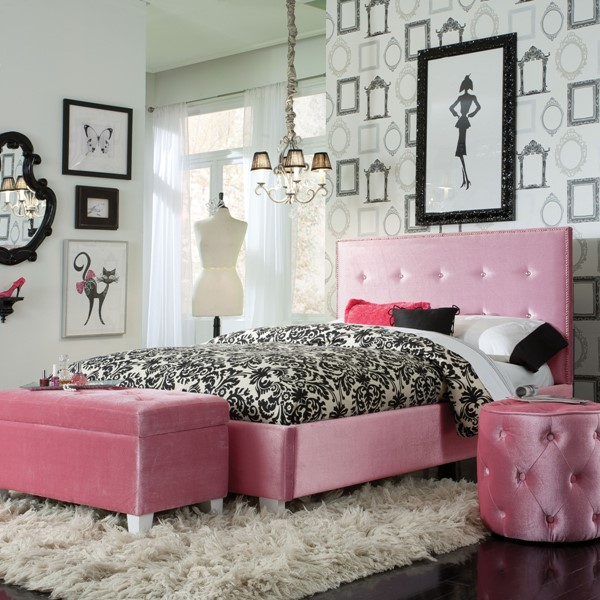 Young Parisian Pink Fabric Solid Wood Full Upholstered Bed STD-65161-FB