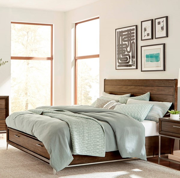 Standard Furniture Milano Dry Walnut Queen Sleigh Storage Bed STD-8007-SQS-BED