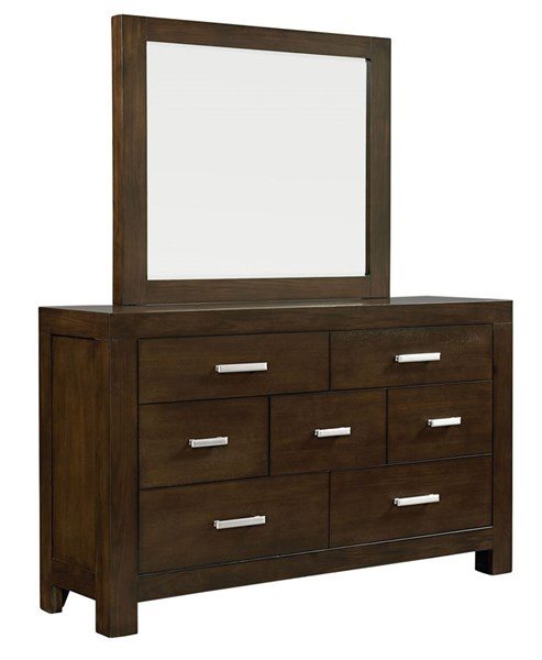 Couture Contemporary Dark Chocolate Brown Wood Glass Dresser & Mirror STD-81558-DRMR