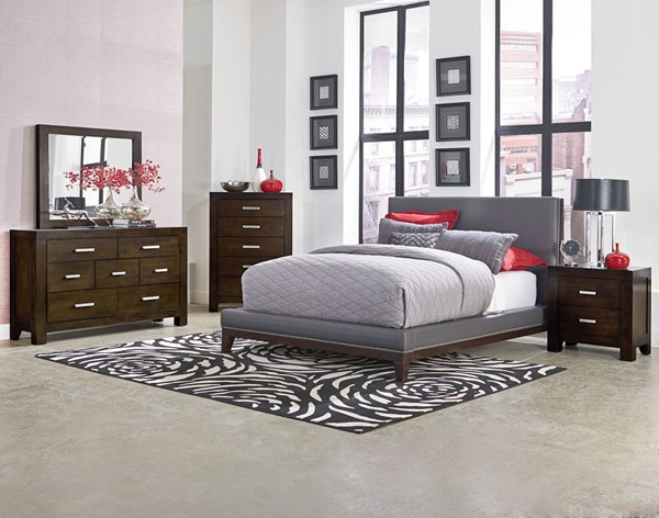 Couture Grey Wood PU Faux Leather 5pc Bedroom Set w/Queen Bed STD-81551-BR-S5
