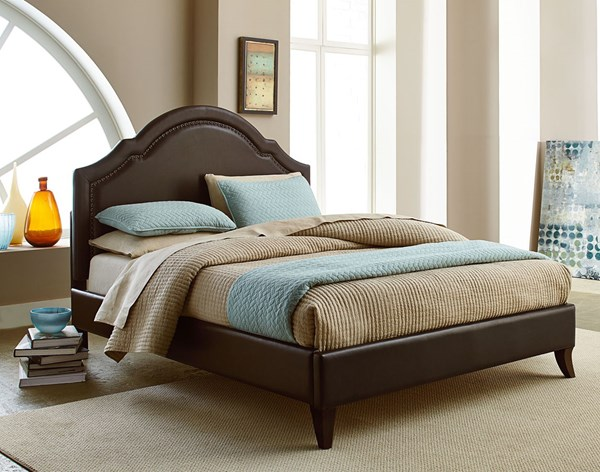 Simplicity Transitional Brown Wood Bonded Leather Cathedral Full Bed STD-81698