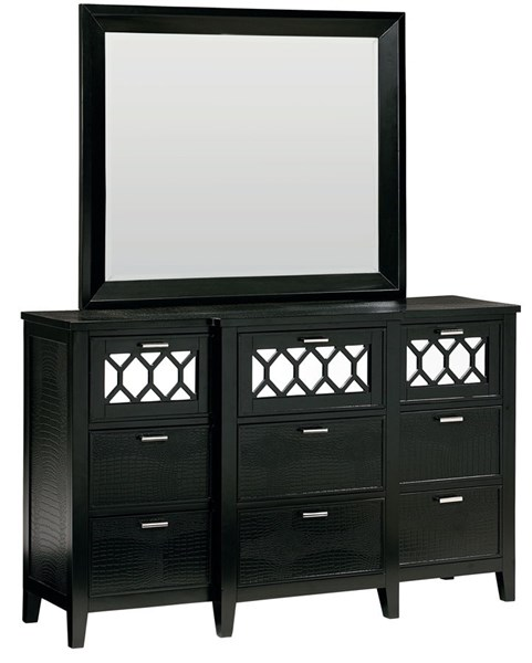 Glamour Modern Black Rubberwood Solid Rectangle Mirror STD-83108