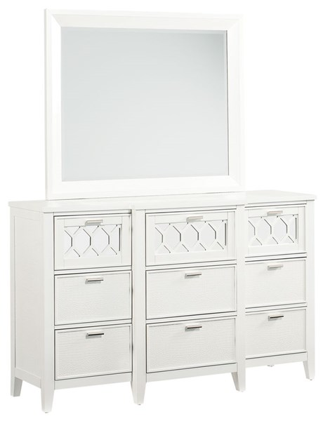 Glamour Lite Modern White Rubberwood Solid Dresser And Mirror STD-8400-DRMR