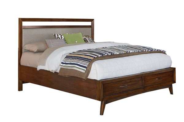 Roxbury Modern Golden Brown Wood King Bed Upholstered Head/Footboard STD-84274