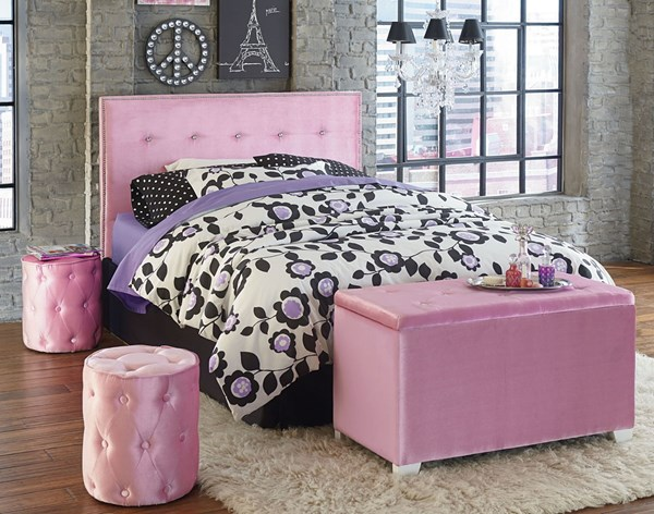 Young Parisian Pink Fabric Twin Upholstered Headboard w/Bench/Ottoman STD-85451