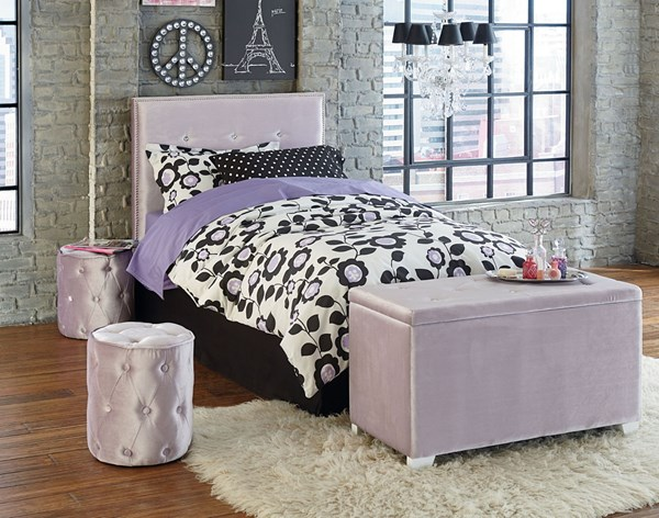 Young Parisian Purple Fabric Full Upholster Headboard w/Bench/Ottoman STD-85463