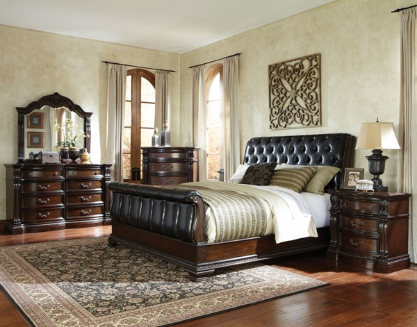 Churchill Brown PU Hardwood 5pc Bedroom Set w/King Sleigh Bed STD-86000-S4