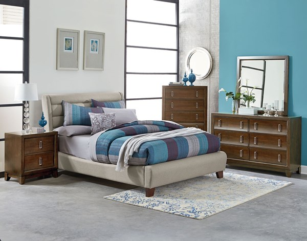 Amanoi Transitional Tan Wood Fabric 5pc Bedroom Set w/Queen Bed STD-8680-BR-S3