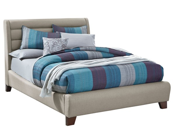 Amanoi Transitional Tan Wood Fabric Queen Upholstered Bed STD-8685-QBED