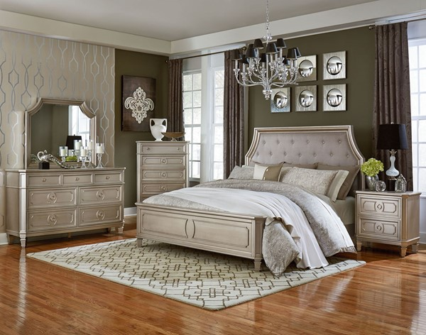 Windsor Silver Grey Fabric Wood 2pc Bedroom Set W/King Bed STD-8730-BR-S2