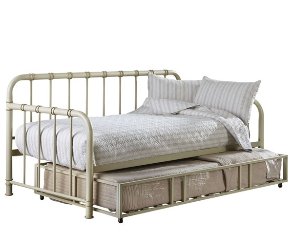 Tristen Transitional White Metal Twin Daybed Trundle w/Rails STD-87554