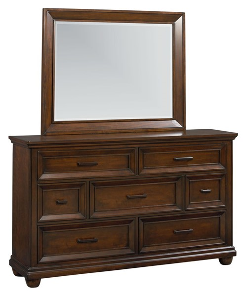 Vineyard Transitional Tobacco Wood Dresser & Mirror STD-8770-DRMR