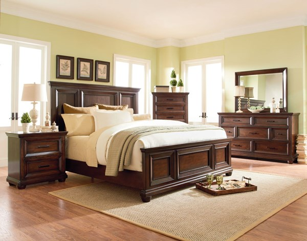 Vineyard Transitional Tobacco Wood 2pc Bedroom Set W/Queen Panel Bed STD-8770-BR-S3