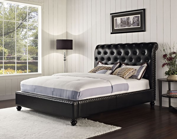 Stanton Black Faux Leather King Upholstered Bed STD-88213