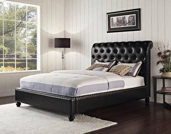 Lorraine Black Wood Bonded PU Queen Upholstered Bed STD-88707-QB