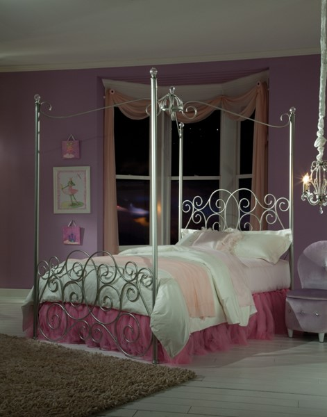 Princess Silver White Metal Twin Canopy Bed STD-90011-TW