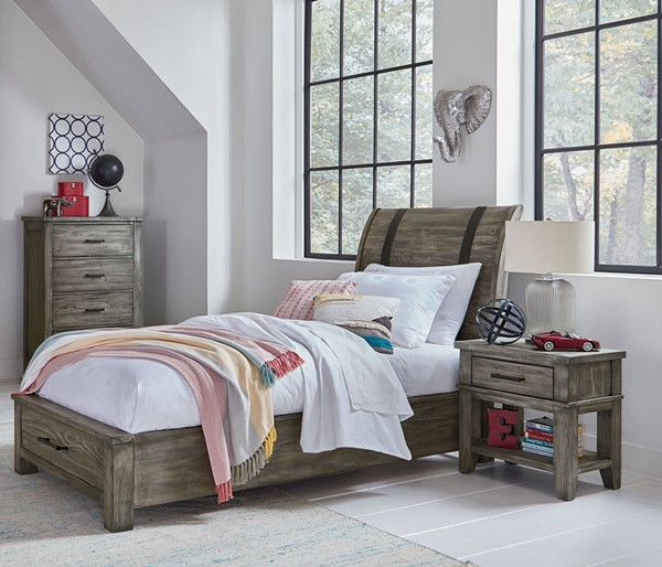 Standard Furniture Nelson Youth Grey 2pc Bedroom Set with Twin Storage Bed STD-9025-KBR-S7