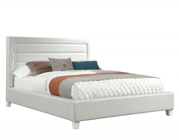 Action White Wood PU King Upholstered Headboard Fluted STD-93003