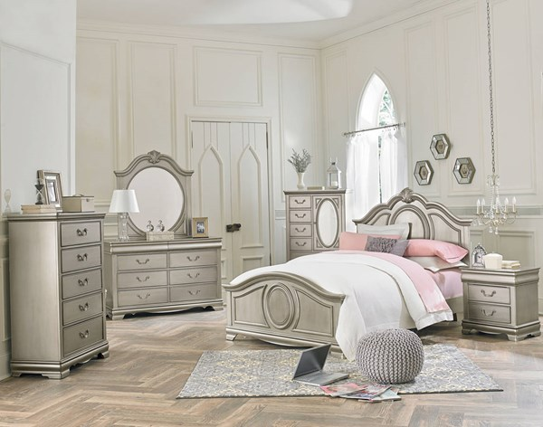 Jessica Cottage Silver Wood 2pc Bedroom Set W/Twin Panel Bed STD-9355-S1