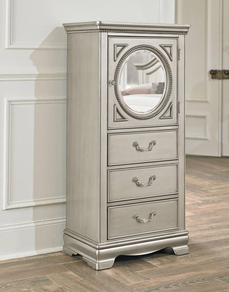 Jessica Cottage Silver Wood Lingerie Chest w/Glass STD-93565
