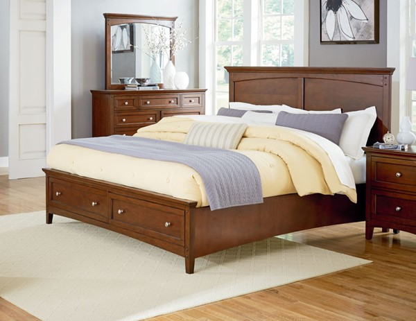 Cooperstown Transitional Cherry Hardwood Queen Panel Storage Bad STD-9380-QSBED