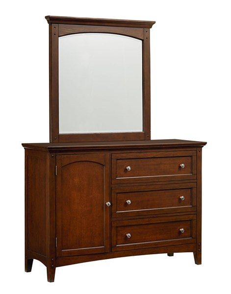 Cooperstown Transitional Cherry Hardwood Youth Dresser And Mirror STD-9381-DRMR
