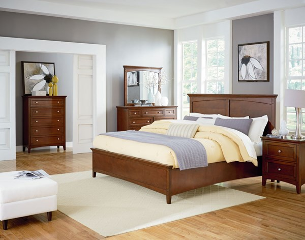 Cooperstown Transitional Cherry Hardwood 5pc Bedroom Sets w/Queen Bed STD-9380-BR-S3