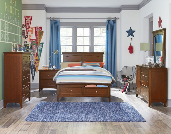 Cooperstown Cherry Hardwood 2pc Kids Bedroom Set W/Full Storage Bed STD-9384-BR-S1