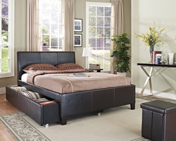 New York Brown PVC Wood Twin Footboard Trundle Rails std-93937