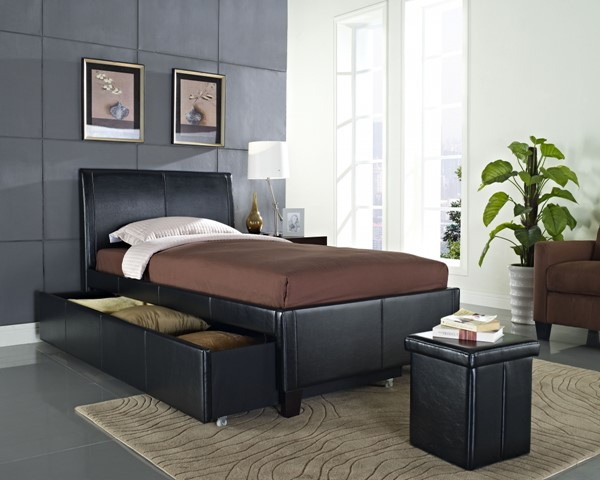 New York Black PVC Wood Twin Upholstered Headboard And Trundle std-93938