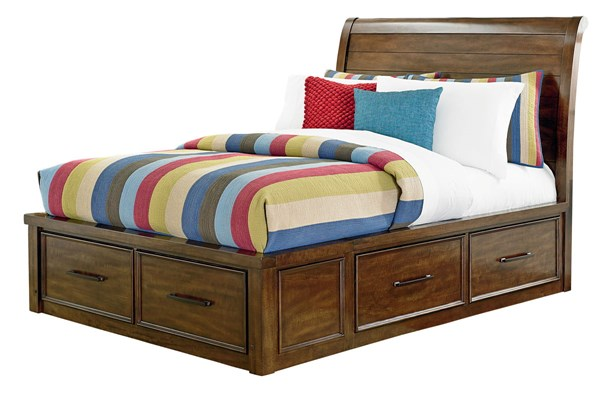 Cameron Rustic Tobacco Brown Solid Wood Twin Sleigh Bed STD-9405-TBED