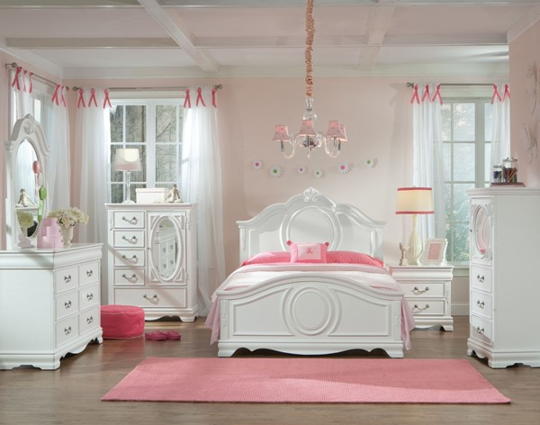 Jessica Cottage White Wood 2pc Bedroom Set W/Full Panel Bed STD-94200-S2