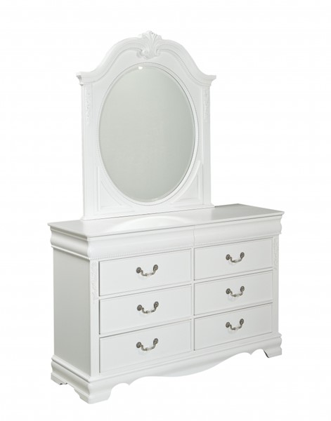 Jessica Cottage White Wood Glass Dresser & Mirror STD-94208-DM