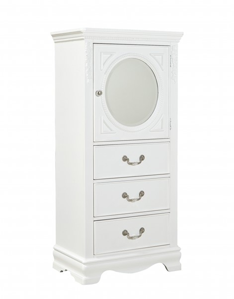 Jessica Cottage White Wood Glass Lingerie Chest STD-94215