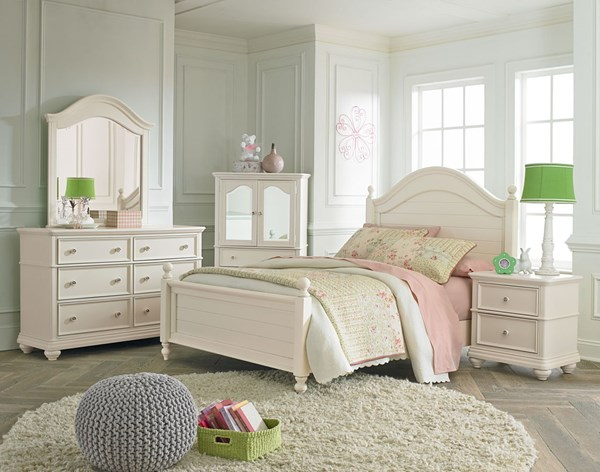 Camellia Traditional Marshmallow Wood 4pc Bedroom Set w/Twin Bed STD-9520-BR-S1