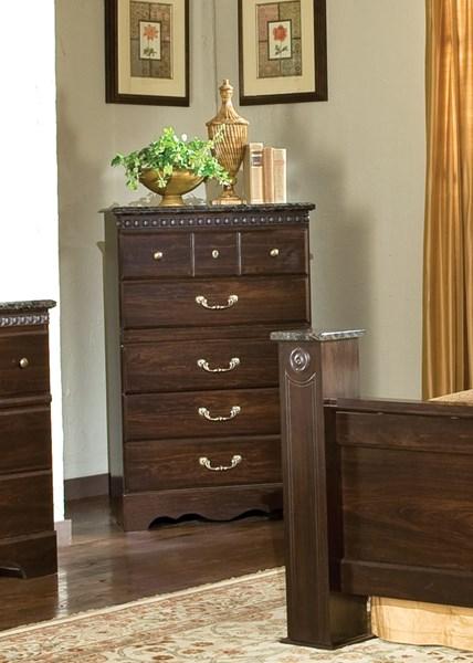 Sorrento Old World Brown Wood 5 Drawers Chest STD-4025