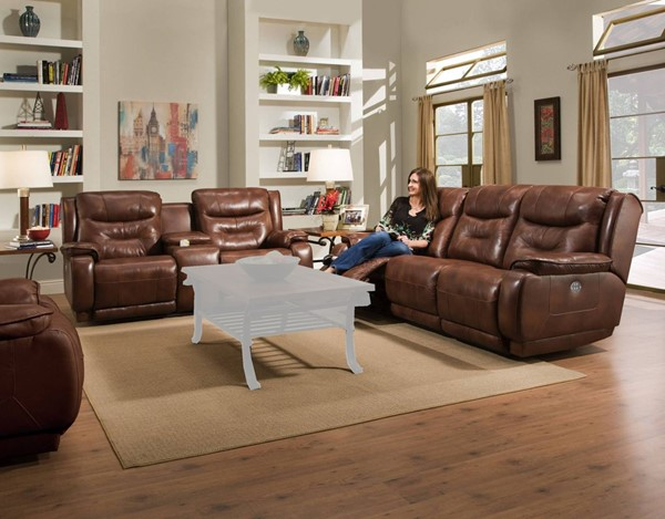 Southern Motion Crescent Brown Power Headrest Sofa and Loveseat Set STHN-874-61P-78P-906-21