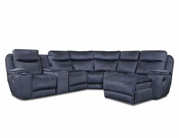 Southern Motion Showstopper Blue Power Headrest Reclining Sectional STHN-73605P468084807915960