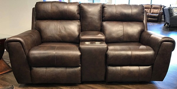 Southern Motion Braxton Brown Power Double Reclining Console Loveseat STHN-719-28PP-970-22