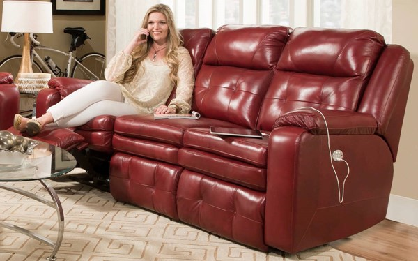 Southern Motion Inspire Red Power Headrest Sofa STHN-85061P-90642