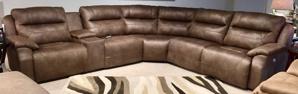 Southern Motion Five Star Brown Power Reclining Sectional STHN-512-05P-46-90P-84-80-06P-12817